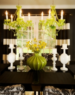 I love the black and white drapery in this dining room.