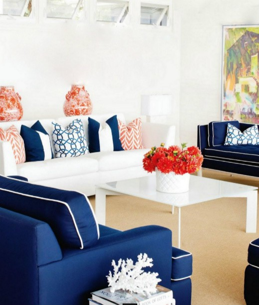 Like this try that oh is this your yacht navy white for Coral living room ideas